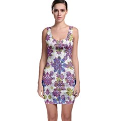Stylized Floral Ornate Sleeveless Bodycon Dress