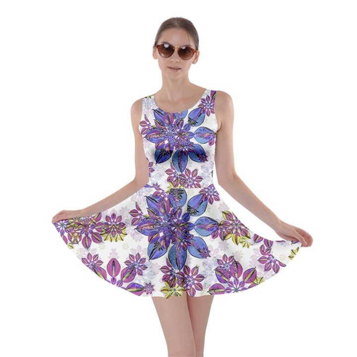 Stylized Floral Ornate Skater Dress