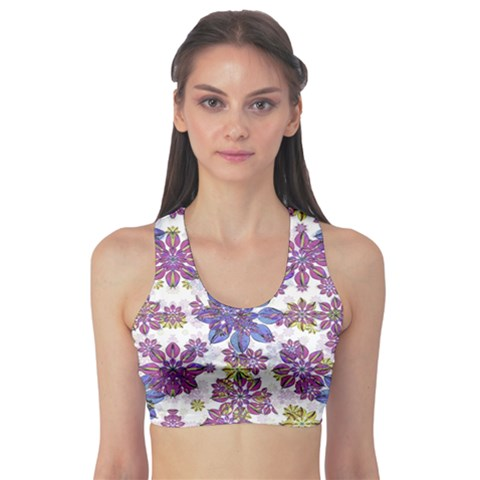 Stylized Floral Ornate Sports Bra