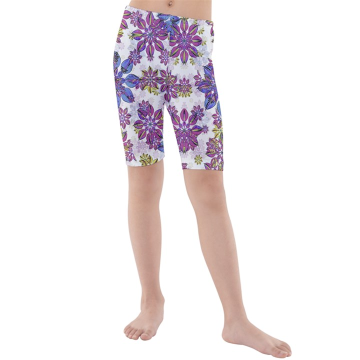 Stylized Floral Ornate Kids  Mid Length Swim Shorts