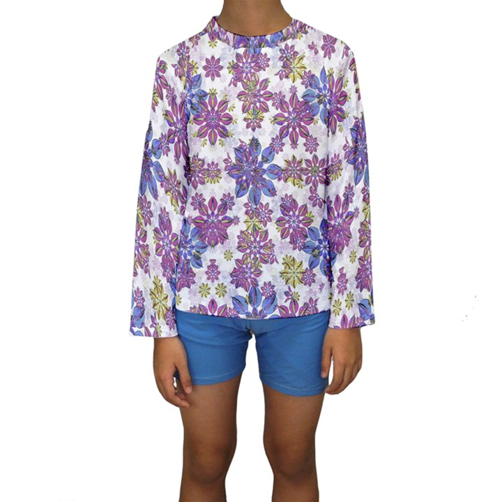 Stylized Floral Ornate Kids  Long Sleeve Swimwear