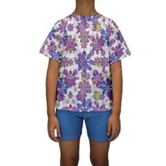 Stylized Floral Ornate Kids  Short Sleeve Swimwear