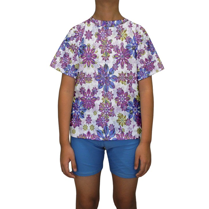 Stylized Floral Ornate Kids  Short Sleeve Swimwear