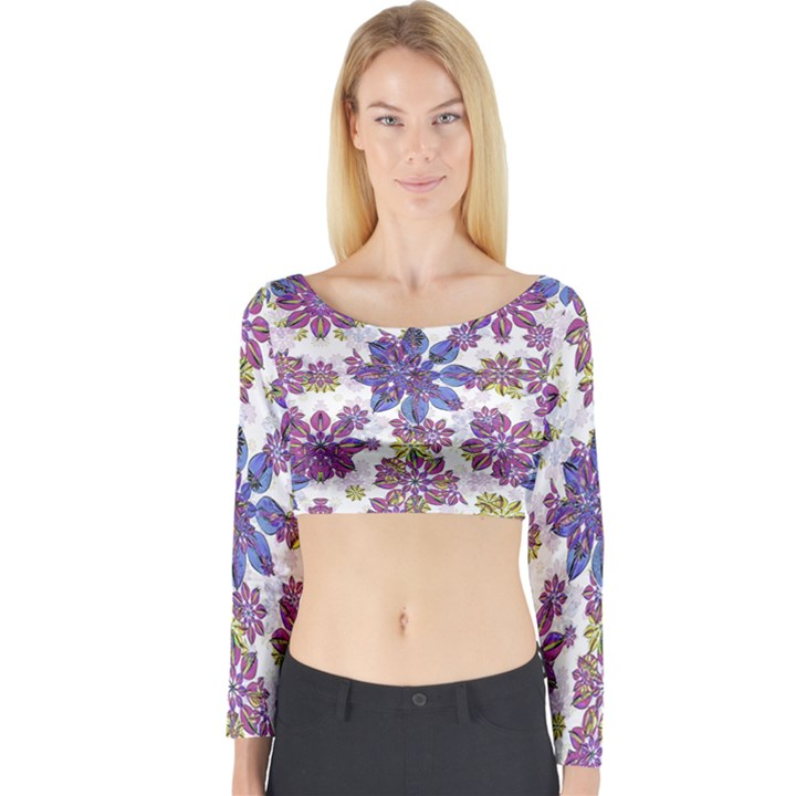 Stylized Floral Ornate Long Sleeve Crop Top