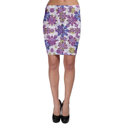 Stylized Floral Ornate Bodycon Skirt