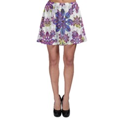 Stylized Floral Ornate Skater Skirt
