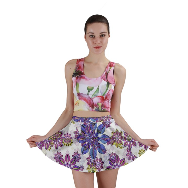 Stylized Floral Ornate Mini Skirt
