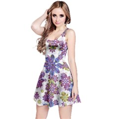 Stylized Floral Ornate Reversible Sleeveless Dress
