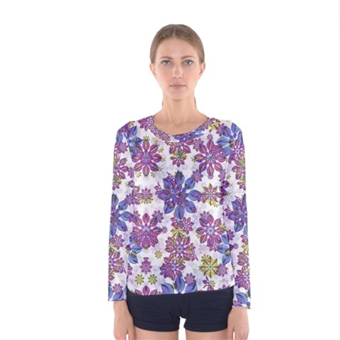 Stylized Floral Ornate Women s Long Sleeve Tee