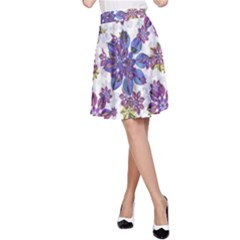 Stylized Floral Ornate A Line Skirt