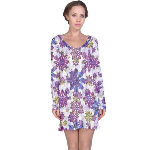 Stylized Floral Ornate Long Sleeve Nightdress