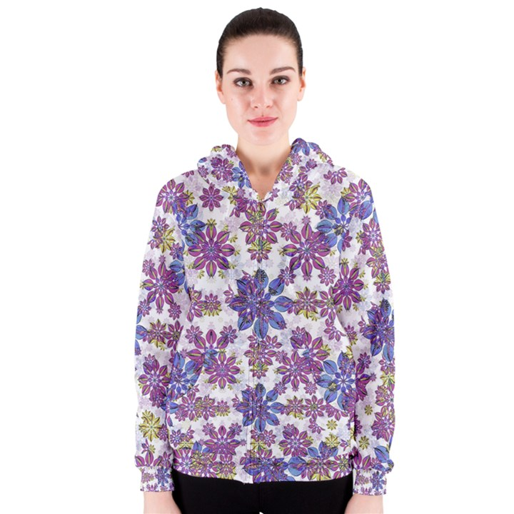 Stylized Floral Ornate Women s Zipper Hoodie
