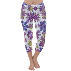 Stylized Floral Ornate Capri Winter Leggings