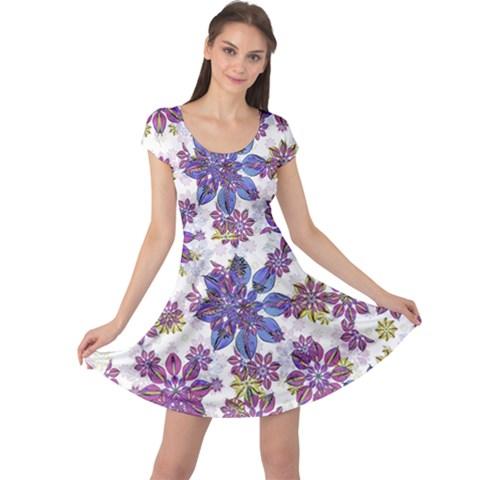 Stylized Floral Ornate Cap Sleeve Dresses