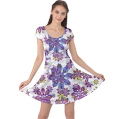 Stylized Floral Ornate Cap Sleeve Dresses