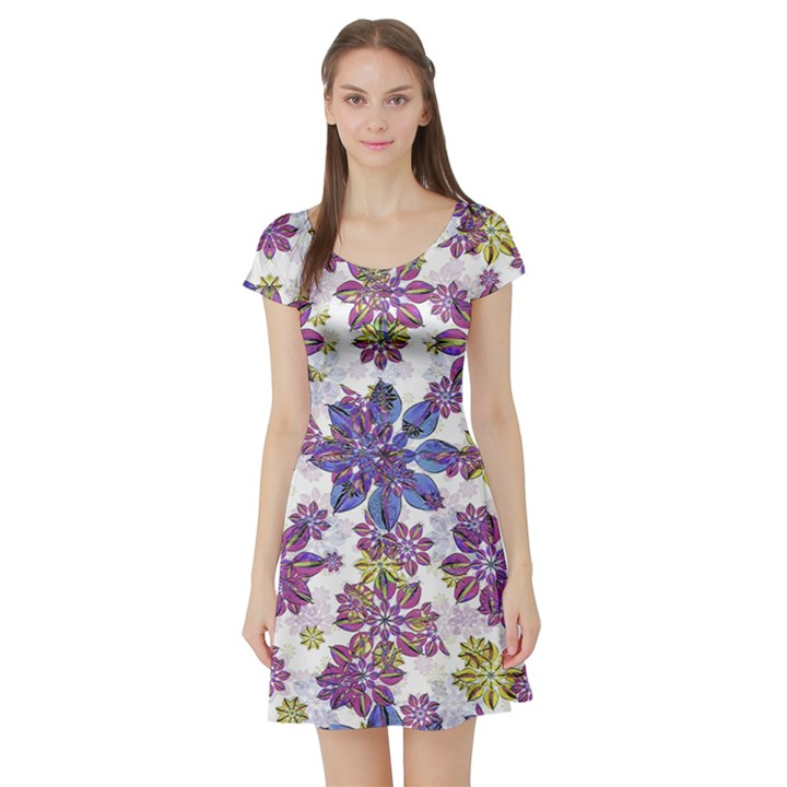 Stylized Floral Ornate Short Sleeve Skater Dress