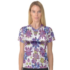 Stylized Floral Ornate Women s V Neck Sport Mesh Tee