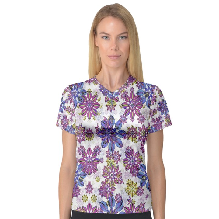 Stylized Floral Ornate Women s V-Neck Sport Mesh Tee