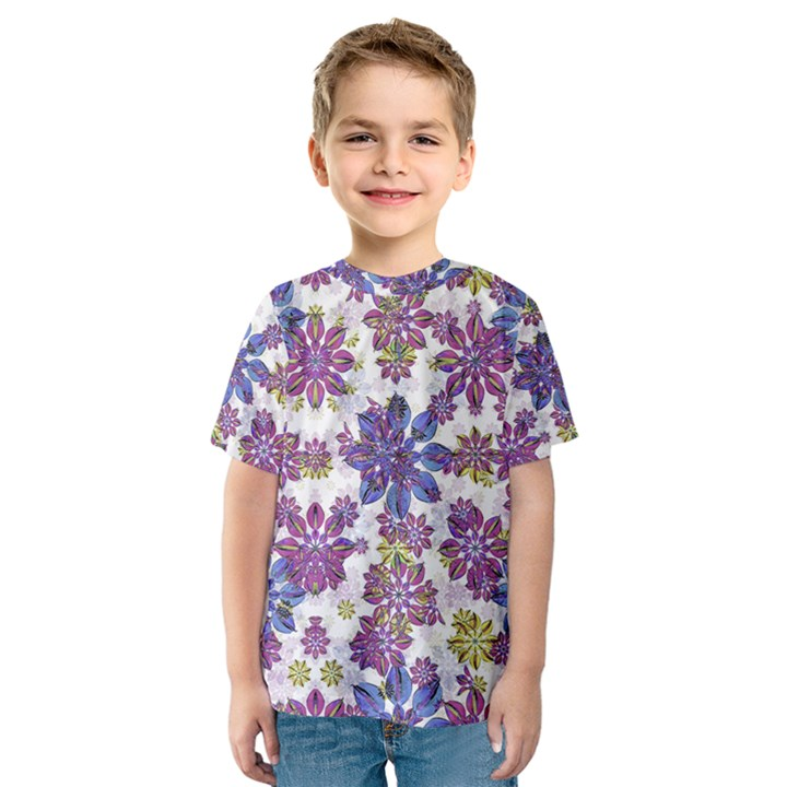 Stylized Floral Ornate Kids  Sport Mesh Tee