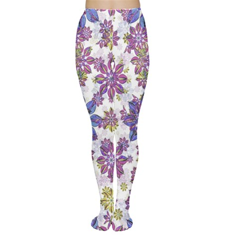 Stylized Floral Ornate Women s Tights