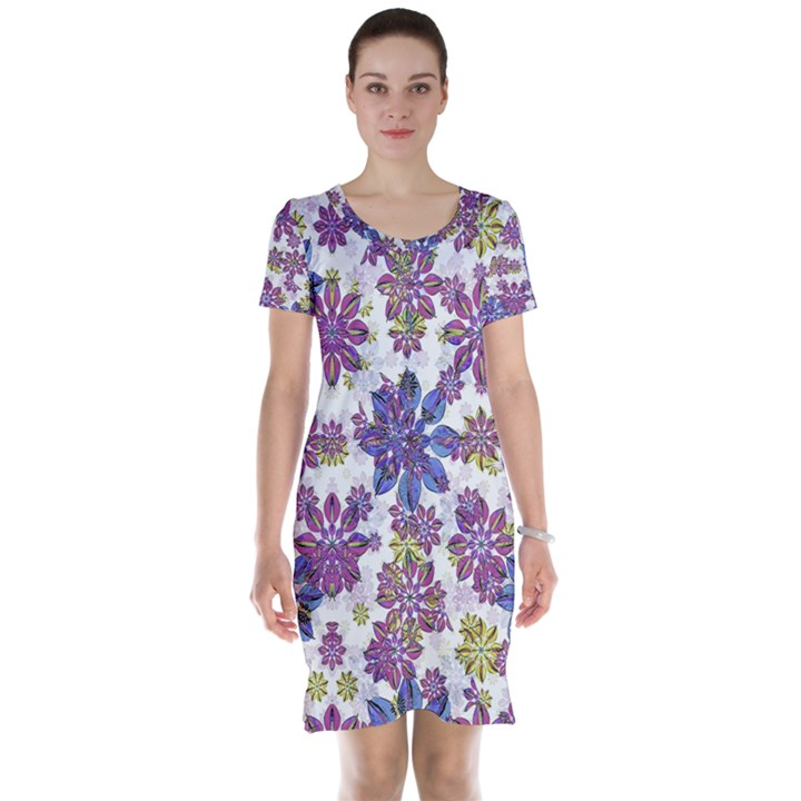 Stylized Floral Ornate Short Sleeve Nightdress
