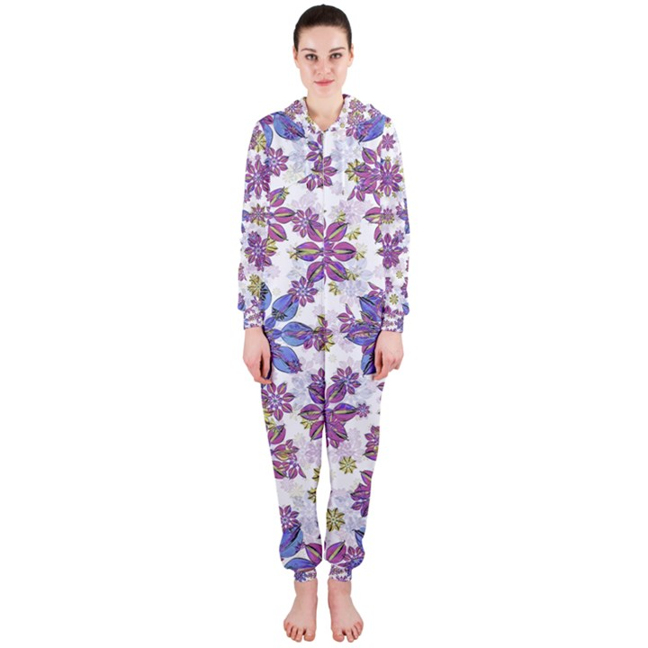 Stylized Floral Ornate Hooded Jumpsuit (Ladies)