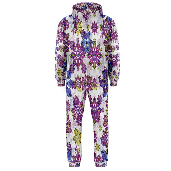 Stylized Floral Ornate Hooded Jumpsuit (Men)