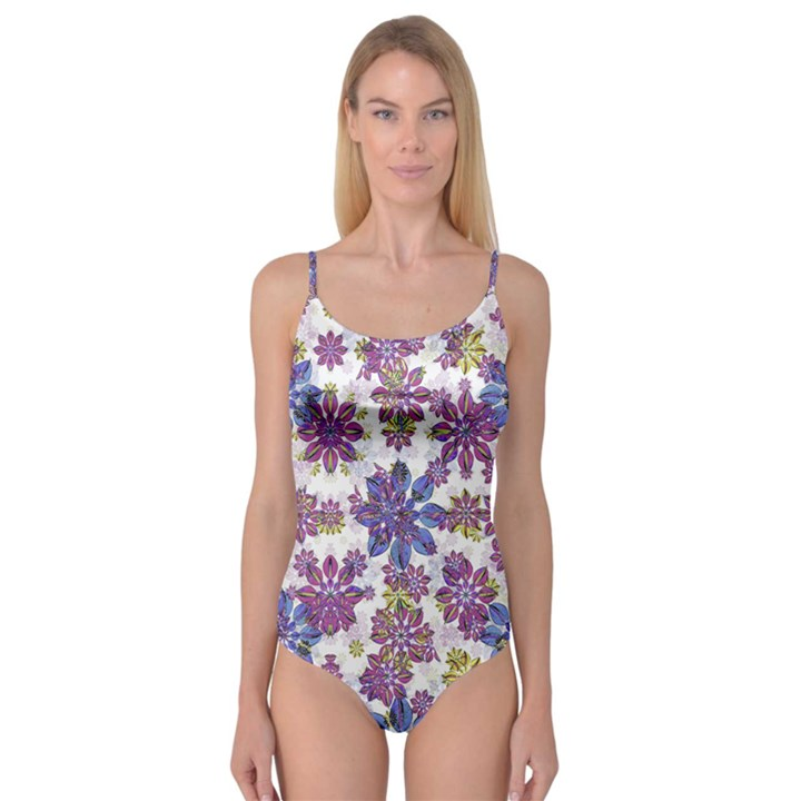 Stylized Floral Ornate Camisole Leotard