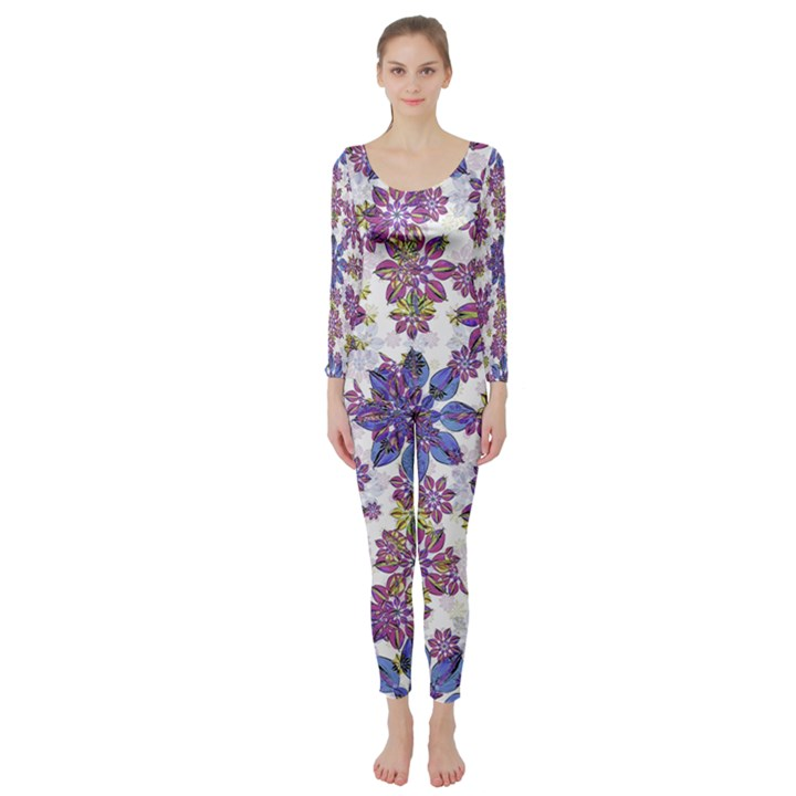 Stylized Floral Ornate Long Sleeve Catsuit