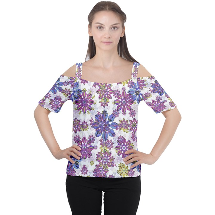 Stylized Floral Ornate Women s Cutout Shoulder Tee