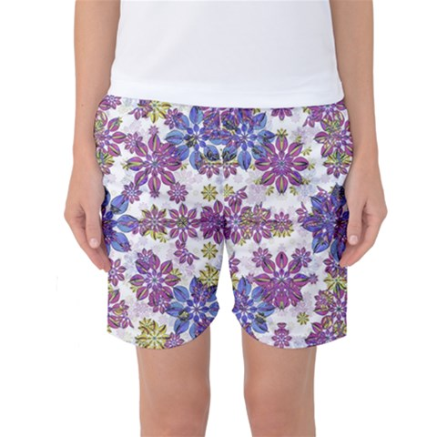 Stylized Floral Ornate Women s Basketball Shorts