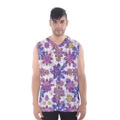 Stylized Floral Ornate Men s Basketball Tank Top