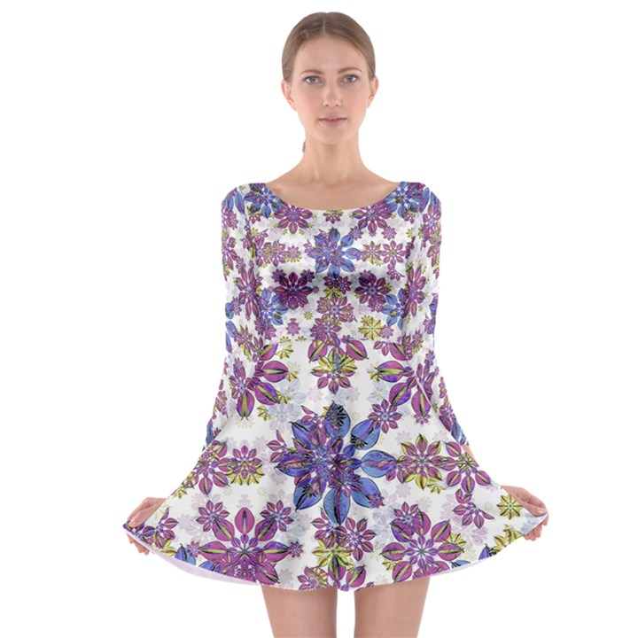Stylized Floral Ornate Long Sleeve Skater Dress