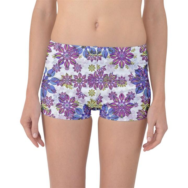 Stylized Floral Ornate Boyleg Bikini Bottoms