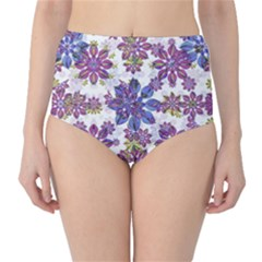 Stylized Floral Ornate High-Waist Bikini Bottoms