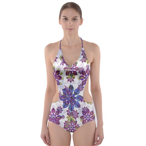 Stylized Floral Ornate Cut-Out One Piece Swimsuit