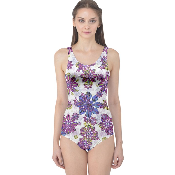 Stylized Floral Ornate One Piece Swimsuit