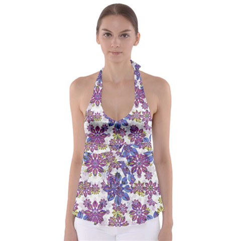 Stylized Floral Ornate Babydoll Tankini Top