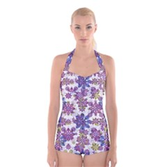 Stylized Floral Ornate Boyleg Halter Swimsuit