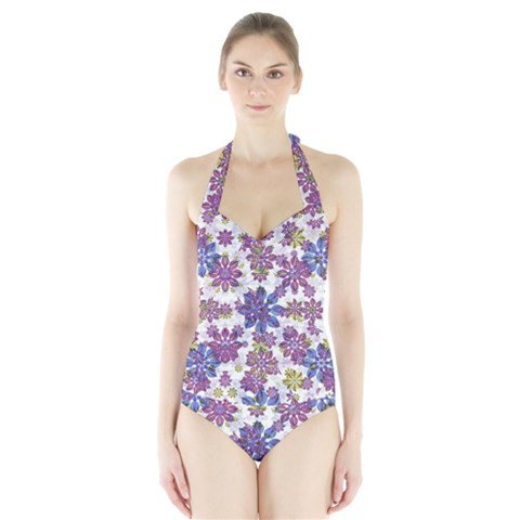 Stylized Floral Ornate Halter Swimsuit