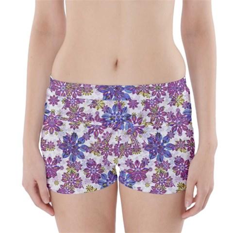 Stylized Floral Ornate Boyleg Bikini Wrap Bottoms