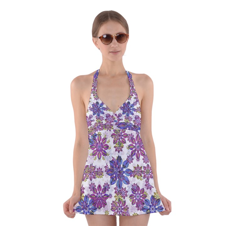 Stylized Floral Ornate Halter Swimsuit Dress