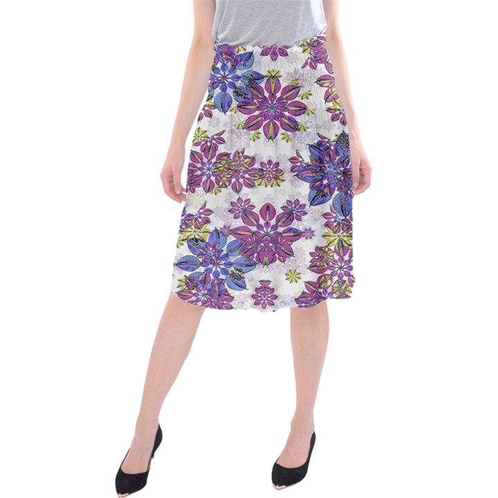 Stylized Floral Ornate Midi Beach Skirt