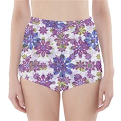 Stylized Floral Ornate High Waisted Bikini Bottoms