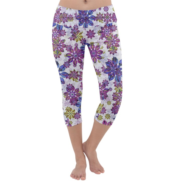 Stylized Floral Ornate Capri Yoga Leggings