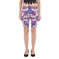 Stylized Floral Ornate Yoga Cropped Leggings