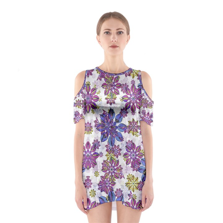 Stylized Floral Ornate Cutout Shoulder Dress