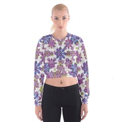 Stylized Floral Ornate Women s Cropped Sweatshirt