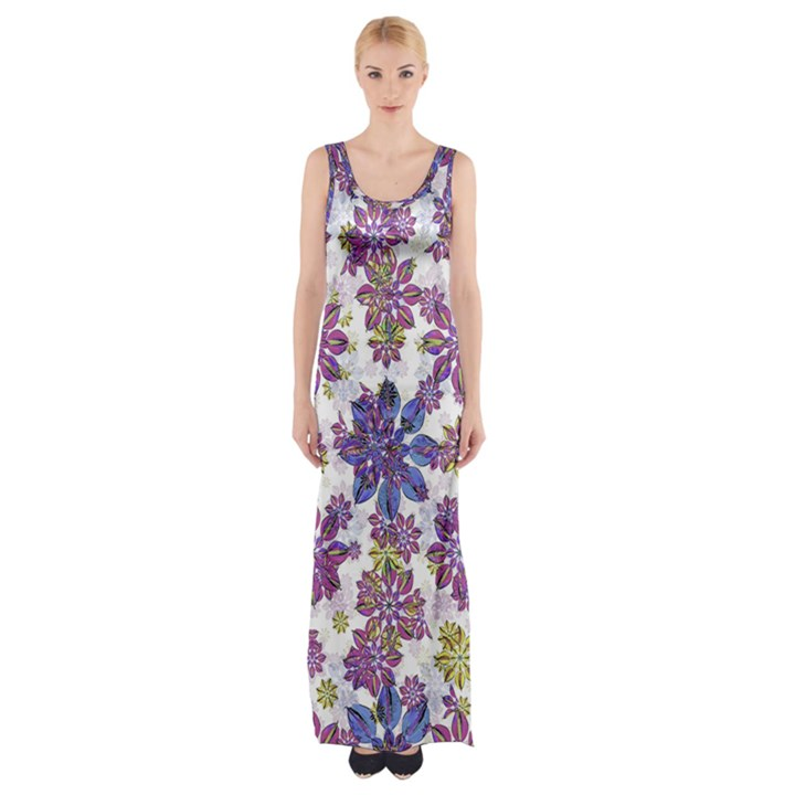 Stylized Floral Ornate Maxi Thigh Split Dress