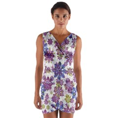 Stylized Floral Ornate Wrap Front Bodycon Dress